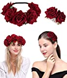 LOYALLOOK Rosa Flower Headband Crown for Women Girls Floral Hair Clip Headband Photo Shoot Garland Wedding Festival Jewelry Headpiece Set, Style 1
