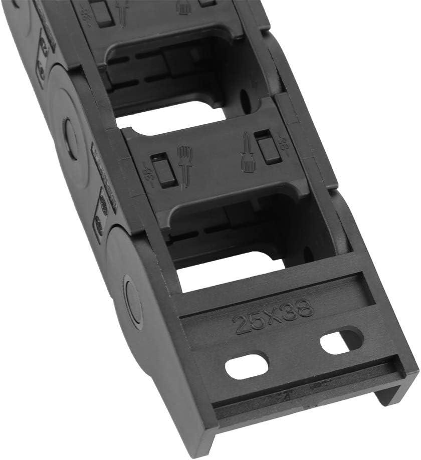 100 cm 25 x 38 mm langes schwarzes Nylon offen beidseitig Kabeltr/äger Schleppkette CNC-Gravierwerkzeugmaschinen