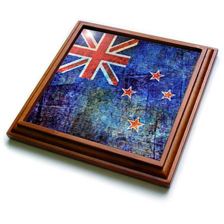 3dRose trv_268078_1 Distressed Style Grunge Flag of New Zealand Trivet with Tile, 8 by 8'' by 3dRose (Image #1)