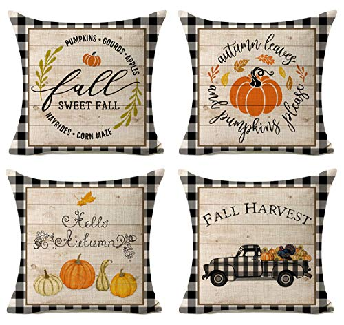 Kithomer Set of 4 Fall Buffalo Plaids Pumpkin Harvest Throw Pillow Cases Autumn Farmhouse Decorative Thanksgiving Throw Pillow Covers Cotton Linen Cushion Cover 18x18 inch (Outdoor Fall Cushions)