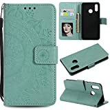 Floral Wallet Case for Huawei P20 Lite,Strap Flip Case for Huawei P20 Lite,Leecase Embossed Totem Flower Design Pu Leather Bookstyle Stand Flip Case for Huawei P20 Lite-Green