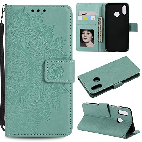 Floral Wallet Case for Huawei P20 Lite,Strap Flip Case for Huawei P20 Lite,Leecase Embossed Totem Flower Design Pu Leather Bookstyle Stand Flip Case for Huawei P20 Lite-Green by Leecase