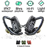Wireless Bluetooth Headphones with Mic by POP Design | Best Wireless Earbuds for Running & Exercise | Multiple Sizes for Men and Women | Rated IPX7 Waterproof | 30 ft. Range | 8 Hour Battery Life
