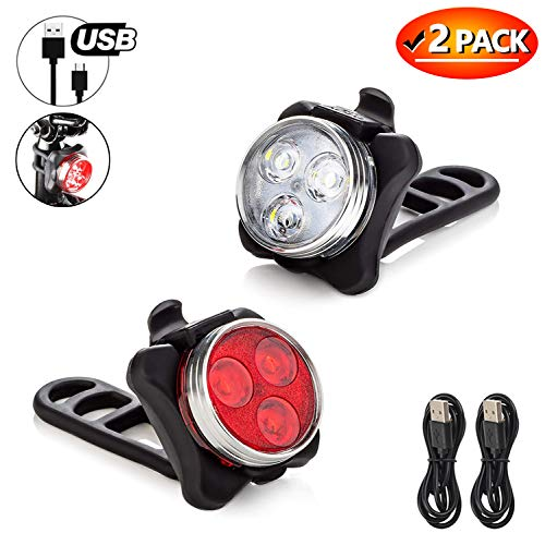 AUKELLY Bike Light Set LED Bicycle Lights Bright Front Red Bike Headlight Free Rear USB Rechargeable Bike Lights USB Bicycle Lights Front+Back,4 Modes,Waterproof,Battery Included