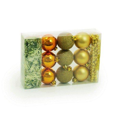KIT Pequeno Bolas Festão e Corda Ouro - 11 Itens