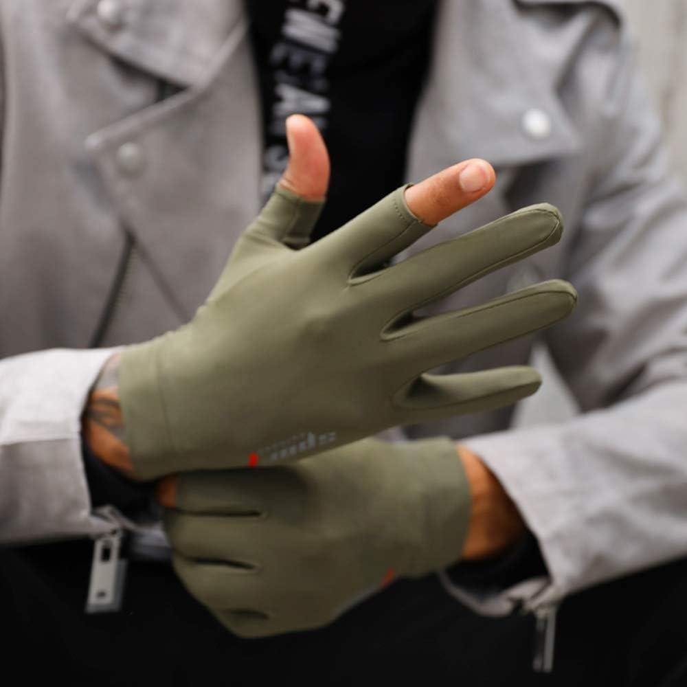 Swftc Herren Thin-Treiber Handschuhe Sommer Sonnenschutz-EIS-Silk Sweat-saugf/ähig atmungsaktiv Halbfingerhandschuh im Freien Kurz Fahrer Anti-Rutsch-F/äustling Touch Screen Male UV-Schutz-Handschuh