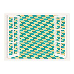 SCOCICI Wall Mural, Window Frame Mural/Geometric,Art Deco Style Chess Table Dart Like Horizontal Vintage Image,Turquoise and Light Yellow/Wall Sticker Mural