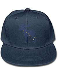 42a0f7788f71b Boy-Girl Adjustable Hats Alaska State Animal Moose Flag Solid Color Baseball  Cap