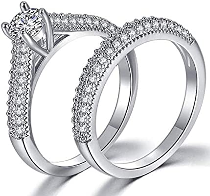 Jude Jewelers Platinum Plated Two In One Wedding Engagement