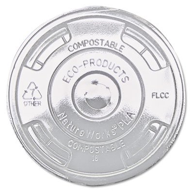 Eco-Products® Compostable Cold Drink Cup Lids, Flat, Clear