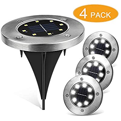 Senignol no no 8 LED Waterproof Solar Powered Disk Sensor Garden Landscape Lighting for Pathway Outdoor in-Ground Lawn Yard Driveway Patio Walkway-White (4 Pack)