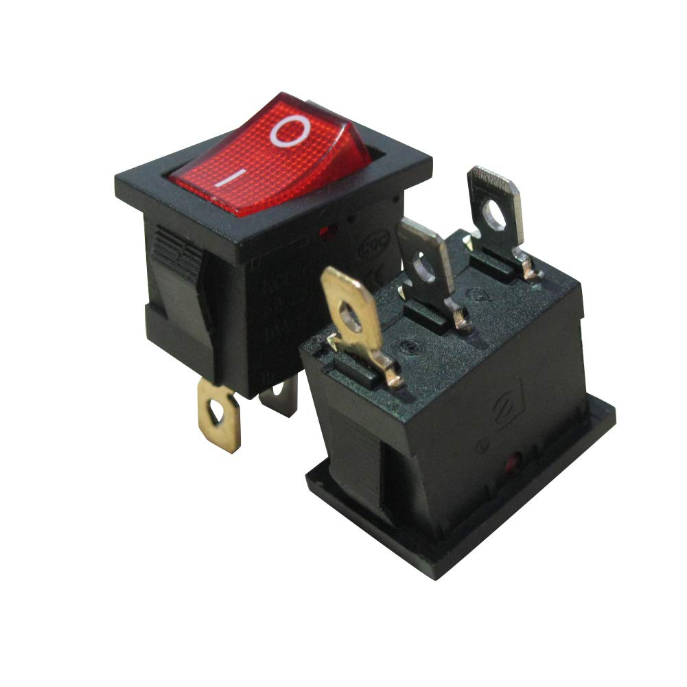 10Pcs AC 250V//6A 125V//10A Red Light Illuminated ON//Off SPST 3 Pin 2 Position Mini Boat Rocker Switches Car Auto Boat Rocker Toggle Switch Snap (Warranty 1 Years)KCD1-2-101N-R Taiss