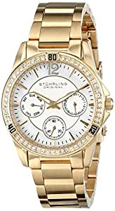 Stuhrling Original Women's 914.02 Marina Quartz Multifunction Swarovski Crystal Gold Tone Watch