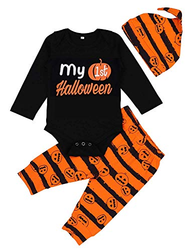 Younger Tree Newborn Halloween Costumes Pumpkin Pants Long Sleeve Outfits Set Baby Boys Girls Clothes My First Halloween (Black, 12-18 Months) ()