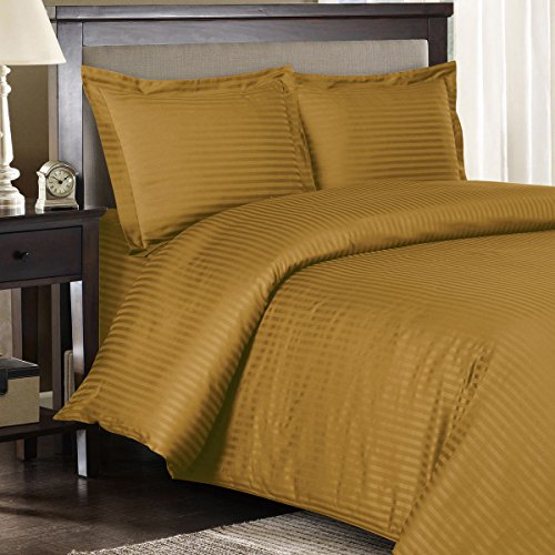 Ultra Soft & Exquisitely Smooth, Genuine 100% Plush Cotton 300 Thread Count Bed In a Bag, Lavish Sateen Stripe Bed Ensemble, 6 Piece Twin Extra Long (Twin XL) Size Bed In a Bag, Stripe, Bronze (Bronze Bedding Ensemble)