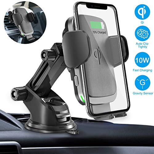 Wireless Car Charger Mount, Auto Clamping Gravity Sensor Car Mount,  7 5W/10W Qi Fast Charging Windshield Dashboard Air Vent Phone Holder for  iPhone