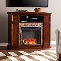 Bowery Hill 47.5 Faux Stone Fireplace TV Stand in Brown