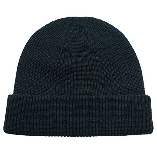 Black Knit Beanie Cap Hat - Connectyle Classic Men  's Warm Winter Hats Thick Knit Cuff Beanie Cap Daily Beanie Hat  Black , 55 60cm