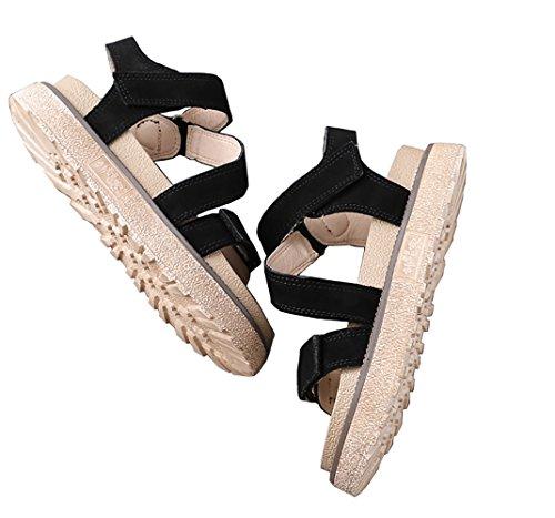 Femme Plateforme 4cm Talon Ouvert Noir à Noir Kaki Plates Velcro Slingback 35 Sandales Rose Daim Romaines 35 Bout Chaussures 42 d'été lanières Sandale qr5fF4qxw