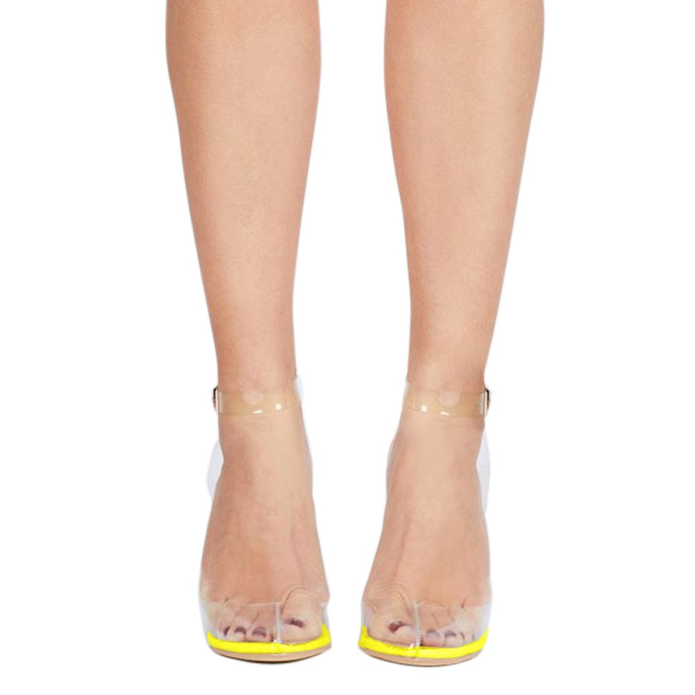 UMEXI Women's Strappy Lucite Clear Stiletto High Pointy Toe Slingback Sandal Shoe Pumps B071XVRZLB 7 B(M) US|Print-yellow