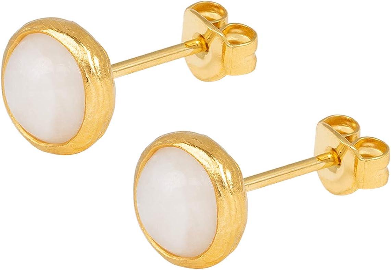 Pendientes de mujer Sarh Bosman con placa de oro Moonstone, redondos, plata chapada en oro, piedras preciosas blancas - SAB-E26WHIMOOg