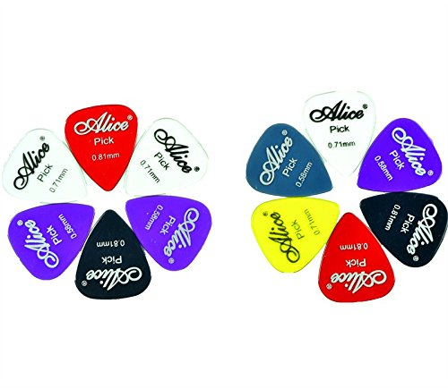 Matte Nylon Guitar Picks, 12 Pack - Assorted Solid Colors -