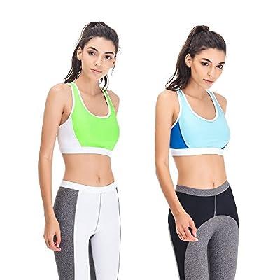 Curve Muse Women Plus Size Sports Bras-Medium Impact Gym Activewear-2 Pack