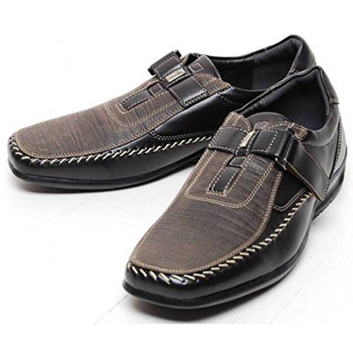 Fashion Sneakers Casual Driving EpicStep Oxfords Velcro Bronze Shoes Mens Leather Loafers YH447nX