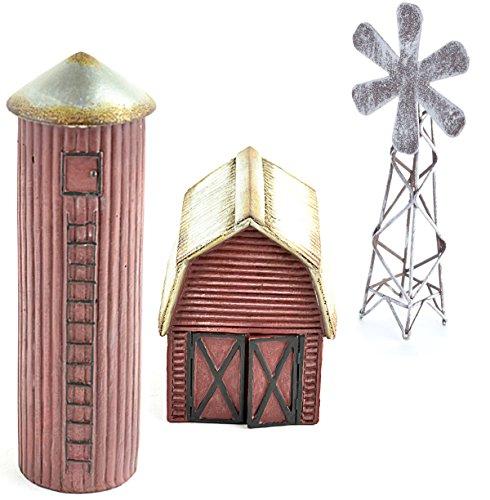 DIY - Miniature Garden Kit - Farm Set with Barn, Silo and Windmill for Gnome, Troll or Fairy Garden
