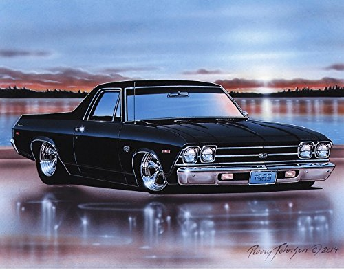 1969 Chevelle El Camino SS Muscle Car Art Print Black 11x14 Poster