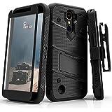 LG K20 Plus Case, Zizo [Bolt Series] w/ [LG K20 Plus Screen Protector] Kickstand [12 ft. Military Grade Drop Tested] Holster Belt Clip - LG Harmony