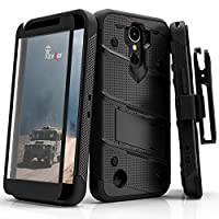 Zizo Bolt Series compatilbe with LG K20 Plus Case Military Grade Drop Tested with Tempered Glass Screen Protector Holster LG Harmony Black