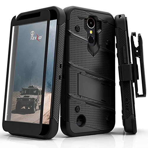 Price comparison product image LG K20 Plus Case,  Zizo [Bolt Series] w / [LG K20 Plus Screen Protector] Kickstand [12 ft. Military Grade Drop Tested] Holster Belt Clip - LG Harmony
