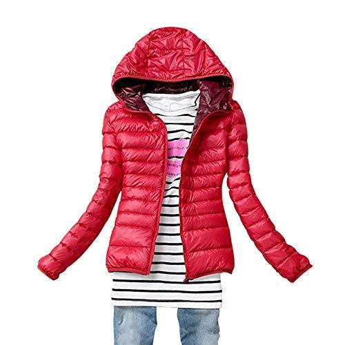 Giacche Giacca Ultraleggeri Piumino Con Corto Cappuccio Inverno Bozevon Rosso Trapuntato Cappotto Donna xwTZ1q1S