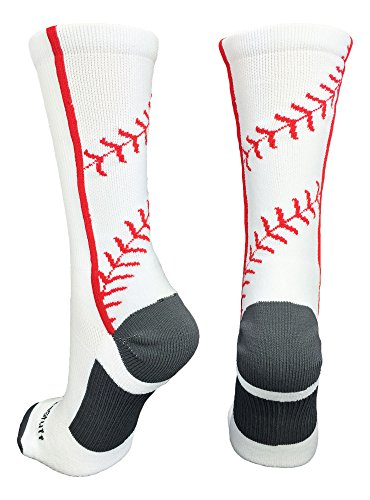 MadSportsStuff Baseball Socks with Stitches in Crew Length (White/Red, Medium) from MadSportsStuff