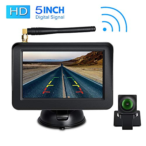Directtyteam HD Digital Wireless Backup Cam Rear View Camera 5″ LCD Monitor System Parking Reverse Safety for Cars, Vans, SUVs, Mini RV, Campers Front/Rear View Camera Super Night Vision Waterproof