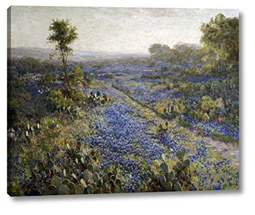 Field of Texas Bluebonnets and Prickly Pear Cacti by Julian Onderdonk - 23