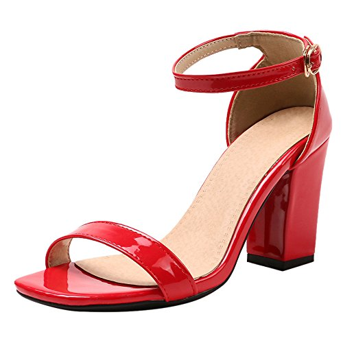 Colors Cm Red 8 Sandales Femmes JOJONUNU 5 Bloc Talons q0xXznw8S
