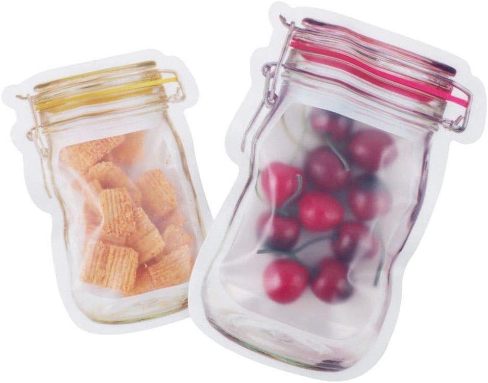TXIN Amarillo Small Frutos Secos Frutas Galletas o s/ándwich para Salir a casa Bolsas de Almacenamiento con Forma de Tarro con Cierre resellable para almacenar Aperitivos