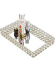 BTSKY Crystal Cosmetic Makeup Tray, Clear Glass Jewelry Trinket Decorative Tray, Rectangle Mirrored Vanity Organizer Tray