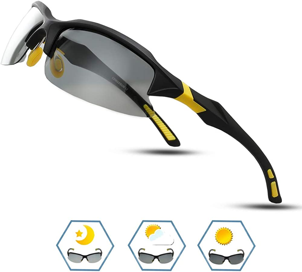COMAXSUN Polarized Sports Sunglasses for Men Women TR90 Frame Cycling Running Fishing Golf Driving Glasses