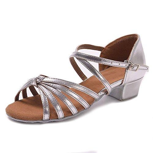 YFF La sala da ballo del tango di ballo latino scarpe tacchi bassi dancing per ragazzi ragazze bambini donne ladies,argento nodi,8