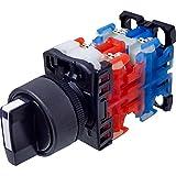 Fuji Electric, AR22PR-122B, 22mm dia. Knob Selector switch, 3-position, spring return, 2NO+2NC, Black