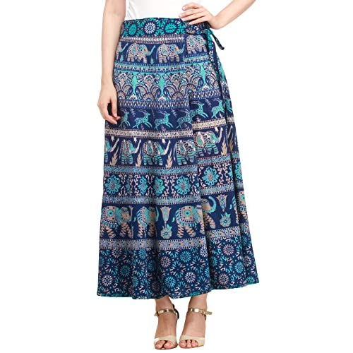 Exotic India Wrap-Around Long Skirt with Printed Elepha supplier