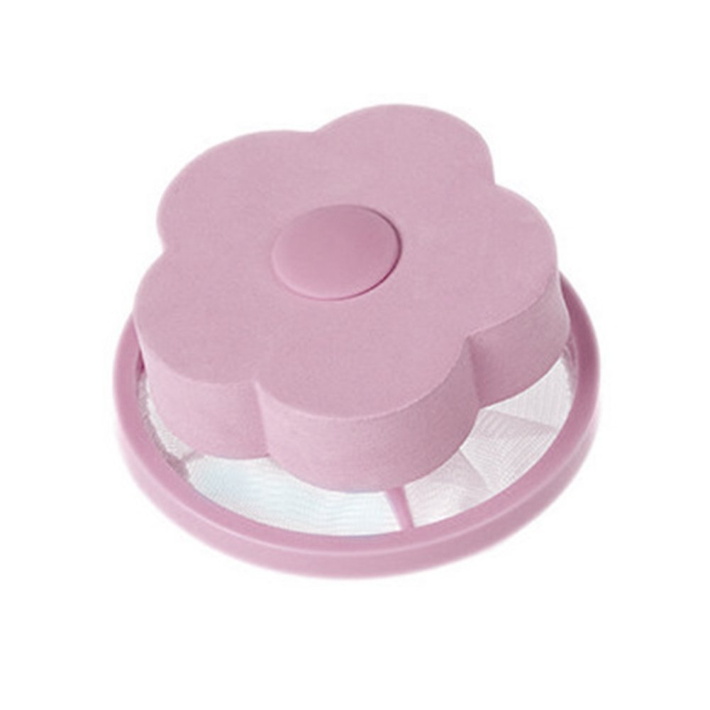 potato001 Flower Shape Washing Machine Hair Removal Laundry Ball Floating Filter Mesh Bag Pink