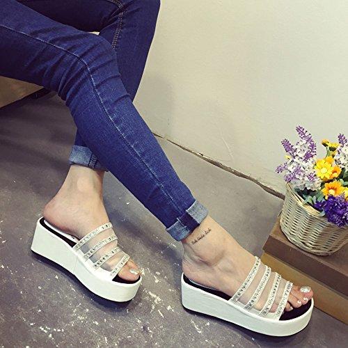 Sandali Dimensioni Nero Da Bianco Bianca 5 Donne Eu36 uk3 Pantofole Haizhen Femmina Le cn35 Spessi Nero Per Tennis Scarpe colore Donna wqIzx64Z