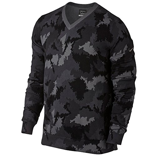 Nike Range Camo V Neck Golf Sweater Dark Grey Heather/Dark Grey (Medium) ()