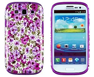 Creative DandyCase 2in1 Hybrid High Impact Hard Lavender Garden Floral Pattern + Purple Silicone Case Cover For Samsung Galaxy S3 i9300 + DandyCase Screen Cleaner