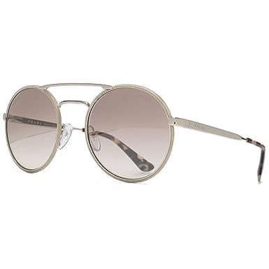 Prada Lunettes de soleil rondes métal en double pont en argentée brune  miroité argent PR 51SS UFH4O0 54 54 Brown Gradient Silver Mirror  Amazon.fr   ... a8599c131e4