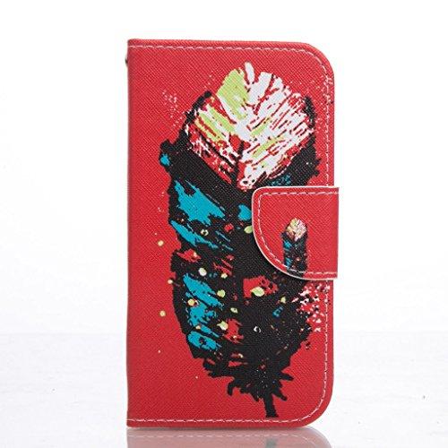 PowerQ Bunte Muster Reihe PU Artificia-Leder Tasche Holster Hülle Etui Fall Case Cover < Colorful feathers | für IPhone 6 6S IPhone6S IPhone6 >        mit schönen hübschen Muster Druck Detailzeichnung Geldbö
